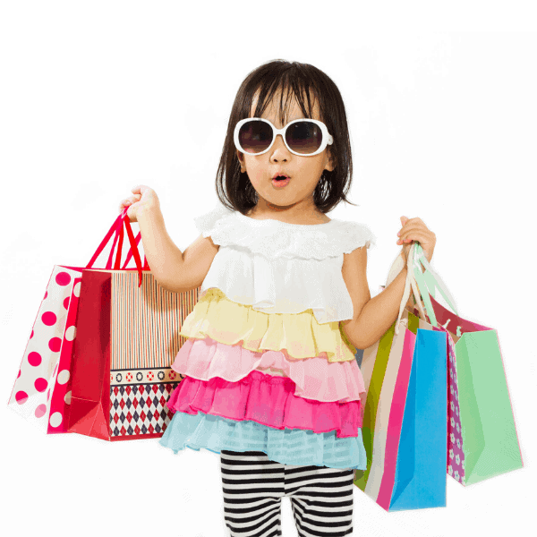 Little Girl with lots of shopping bags